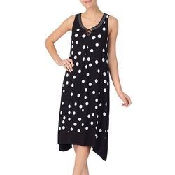 Ellen Tracy Womens Polka Dot Print Midi Nightgown
