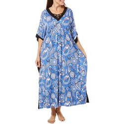 Ellen Tracy Womens Paisley Print Long Kaftan