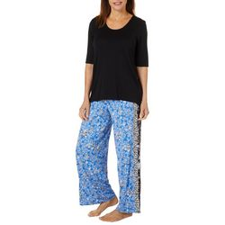 Ellen Tracy Womens Floral Palazzo Pajama Pants Set