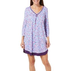 Ellen Tracy Womens Floral Printed Chemise Nightgown