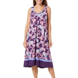 Ellen Tracy Womens Paisley Print Midi Nightgown