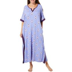 Ellen Tracy Womens Medallion Print Long Kaftan