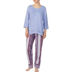 Ellen Tracy Womens Floral Stripes Pajama Pants Set