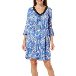 Ellen Tracy Womens Paisley Bell Sleeve Tunic Nightgown
