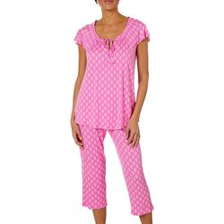 Ellen Tracy Womens Medallion Notch Collar Capri Pajama Set