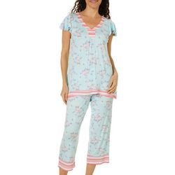 Ellen Tracy Womens Floral Stripe Trim Pajama Set