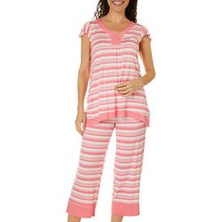 Ellen Tracy Womens Striped Pajama Set