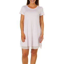 Ellen Tracy Womens Ditsy Heart Print Short Sleeve Nightgown