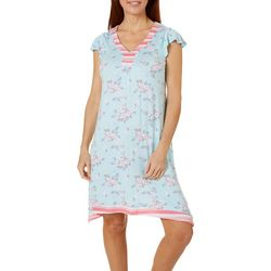 Company Ellen Tracy Womens Floral Flutter Sleeve Nightgown