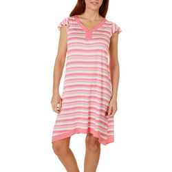 Company Ellen Tracy Womens Striped Flutter Sleeve Nightgown