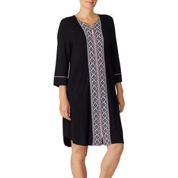 Ellen Tracy Womens Stripe Diamond Short Zipper Nightgown