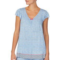 Ellen Tracy Womens Stripe Knit Pajama Top
