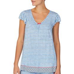 Womens Stripe Knit Pajama Top