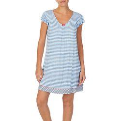 Ellen Tracy Womens Striped Short Nightgown