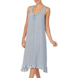 Ellen Tracy Womens Printed Midi Nightgown