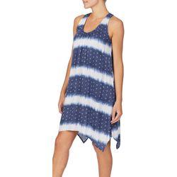 Ellen Tracy Womens Stripe Tie Dye Short Sleep Gown