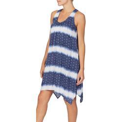 Womens Stripe Tie Dye Short Sleep Gown