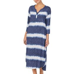 Ellen Tracy Womens 3/4 Sleeve Split Neck Nightgown