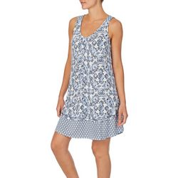 Ellen Tracy Womens Sleeveless Printed Short Nightgown