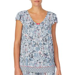 Ellen Tracy Womens Paisley Pajama Top