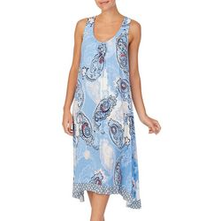 Ellen Tracy Womens Paisley Midi Nightgown