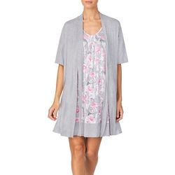 Ellen Tracy Womens Flamingo Nightgown Set
