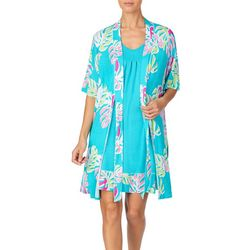 Ellen Tracy Womens Tropical Leaf Print Nightgown Set