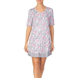 Ellen Tracy Womens Flamingo Palm Short Sleeve Nightgown