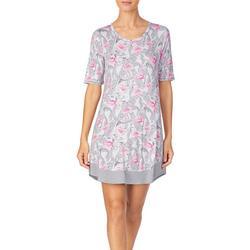 Womens Flamingo Palm Short Sleeve Nightgown