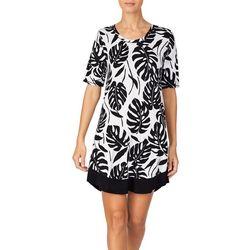 Ellen Tracy Womens Palm Leaf Short Sleeve Nightgown