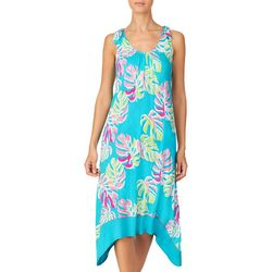 Ellen Tracy Womens Palm Print V-Neck Midi Nightgown