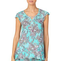 Ellen Tracy Womens Paisley Keyhole Pajama Top