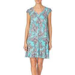 Ellen Tracy Womens Paisley Keyhole Flutter Sleeve Nightgown