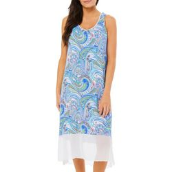 Ellen Tracy Womens Paisley Soft Bra Chemise Nightgown