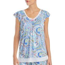 Ellen Tracy Womens Swirling Paisley Pajama Top