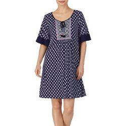 Ellen Tracy Womens Medallion Print Short Tunic Nightgown