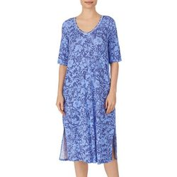 Ellen Tracy Womens Tropical Floral Midi Lounge Nightgown