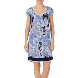 Ellen Tracy Womens Paisley Cap Sleeve Nightgown