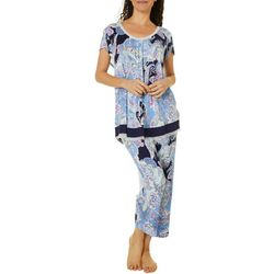 Ellen Tracy Womens Paisley Print Pajama Top