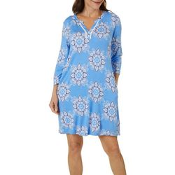 Ellen Tracy Womens Medallion Print Tunic Nightgown