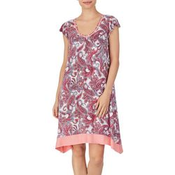 Ellen Tracy Womens Paisley FlutterSleeve Nightgown