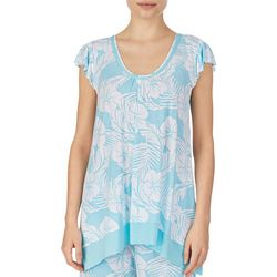 Ellen Tracy Womens Hibiscus Print Pajama Top