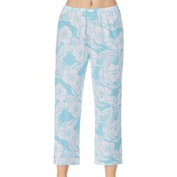 Womens Tropical Print Cropped Pajama Pants