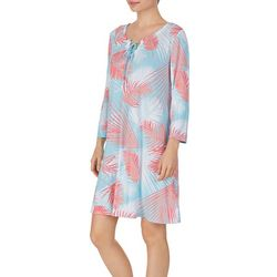 Ellen Tracy Womens Palm Leaves Tunic Nightgown