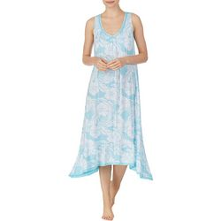 Ellen Tracy Womens Palm Print Midi Nightgown
