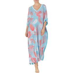 Ellen Tracy Womens Palm Print Long Kaftan Nightgown