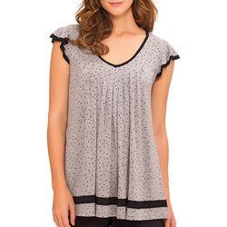 Ellen Tracy Womens Essentials Dot Print Pajama Top