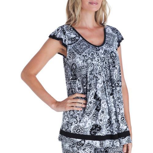 ELLEN TRACY Knit Flutter Sleeve Top S Black