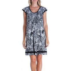 Ellen Tracy Womens Essentials Paisley Print Nightgown