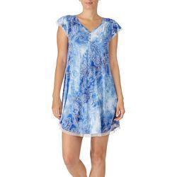Ellen Tracy Womens Tie-Dye Paisley Short Sleeve Nightgown